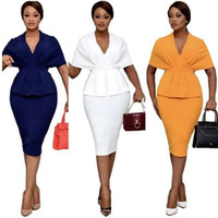 Elegant Office Ladies Clothes African Dress Tunic Peplum High Waist Bodycon Bow Midi Party Summer Dresses For Women Ethnic Clothing