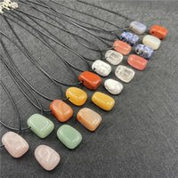 irregular stone Beads pendant Black Rope chain Healing Crystal Pendants Necklace For women Gift Jewelry