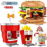 Sembo City Friends Food Hamburgers Shop Street View Buildings Block for Ice Cream House Truck Bricks Sets Toys Children Gift