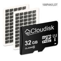 Bulk 100Pack Cloudscisk Micro SD Karta 16 GB 32 GB 64 GB 128GB 256PL 512GB 1TB Klasa 10 Prawdziwa karta MicroSD 1 GB 2 GB 4 GB 8 GB Klasa 4-klasy 10 Karta pamięci