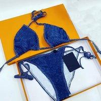 21ss Tasarımcı Kadınlar Tam Çiçek Mayo Klasik Mektup Mayo Seksi Bikini Set Kadın Plaj Mayo Moda Mayo İki parçalı Backless Mayo