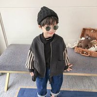 Boys knitted stripe long sleeve cardigan kids letter embroidery patch sweater outwear children casual clothing tops Q2854