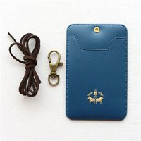 Card Holders Candy Color ID Cover IC Bus PU Leather Necklace Type Jacket Drop