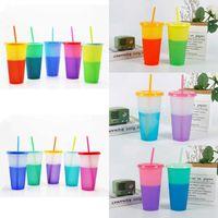 10 modèles de pendules à changement de couleur de la qualité alimentaire 24 oz Chant de boisson en plastique magique paillettes réutilisables Candy Couleur Eau gobelets d'eau bouteilles d'eau portable