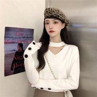 Jxmyy autunno / inverno 2020 Nuovo stile coreano sciolto interno a maniche lunghe con scollo a V con scollo a V donne francese retrò a maniche lunghe