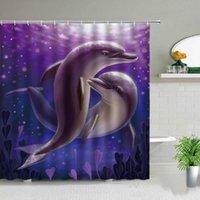 Занавески для душа 180x180 см Смешные дельфины милый океан животное голубое море морской волна пейзаж ванной декор ткани висит занавес