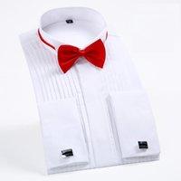 2021mens Kanat-Ucu Yaka 1/4 Plise Smokin Elbise Gömlek Fransız Manşetleri Gizli Düğmeler Plaket Uzun Kollu Düğün Damat Gömlek