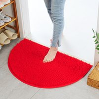 Anti Slip Chenille Soft Bathroom Carpet Super Absorbent Bath Rug Floor Door Mat Dirt Barrier Semi Circle Floors Doors Cushion Mats Rugs JY0794