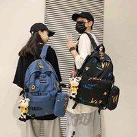 Schoolbag men's Korean version Street trend junior high school students backpack personality graffiti large capacity
