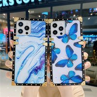 Marble Case for Samsung S21FE S21 Ultra S10 Plus S9 S8 S10lite Note10lite Note20 Note10 Note8 Note9 Full Protective Soft Square Plating Butterfly Back Cover Anti-fall