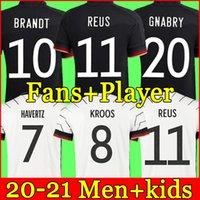 독일 축구 유니폼 2020 2021 팬 플레이어 버전 Hummels Kroos Gnabry Werner Draxler Reus Muller Gotze 유럽 컵 축구 셔츠 유니폼 남성 + 키트 키트