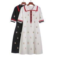 Primavera Verão Malha Dos Desenhos Animados Bordado Polo Vestido Mulher Plus Size Preto Casual Joelho-Comprimento Reto Vestidos Feminino 210623