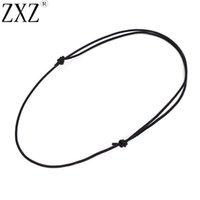 ZXZ 10 unids Collar de gargantilla ajustable 1.5mm Cordón deslizante de nudo de cuero negro genuino de 1,5 mm para joyería que hace hallazgos