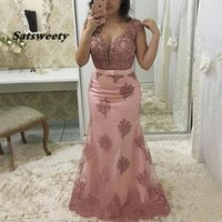 Light Pink Mermaid Mother Of The Bride Dresses Plus Size Sheer Jewel Cap Sleeve Vintage Lace Long Formal Evening Gown 2021