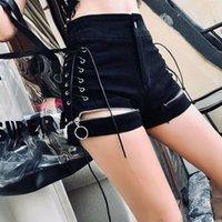 Women's Shorts Denim Black Lace Up Elasticity Holiday OL Sexy Club Women High Waist Jeans Summer Goth Girl Nightclub Wear