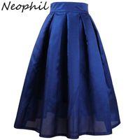 Neophil 2021 Summer Womens Skirts High Waist Pleated A-line Solid Vintage Retro Black Elegant XXL Jupe Plisse Femme S1704