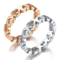 Band Rings New Stainless Couple Fashion Peach Heart Rose Gold Men's and Women's Titanium Steel Pair Ring Aa2297