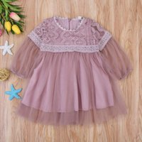 Girl's Dresses Kids Baby Girls Princess Dress Summer Sweet Floral Lace Long Sleeve Tulle Pageant Wedding Party 0-3Y 2021