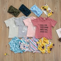 Clothing Sets 0-24 Months Baby Girls Clothes Set, Letter Print Short Sleeve O-neck T-shirt + Printed Shorts Bow-knot Headband