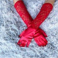تمتد الحرير قفازات الزفاف الدانتيل الآداب فساتين الزفاف الاكسسوارات الأداء المرأة المناسبات الخاصة قفاز للولائم
