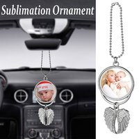 Sublimation Car Ornament Decorations Angel Wings Shape Blank Hot Transfer Printing Consumables Supplies Decor Keychain Keyring