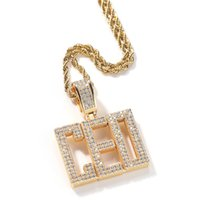 Men Women New Fashion Hip Hop Custom Name CZ Letter Pendant Necklace with 3mm 24inch Rope Chain Necklace Gold Silver Bling Zirconia Men Pendant Jewelry