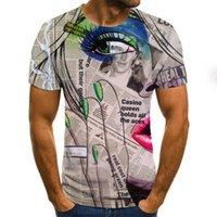 Газета 3D Цифровая печать с коротким рукавом вокруг шеи футболка молодежь повседневная рубашка