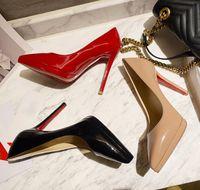 Luxury designer High Heels Women Shoes Sexy Black stiletto heel waterproof Genuine Leather Red sole Pumps Wedding Top Quality Pointed Toe Womens Dress Shoe