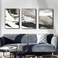 Peintures Encre chinoise Noir Brosse Blanc Peinture Abstrait Lignes Mural Memorial Toile Affiche Décor Art Imprimer Image Accueil Dec