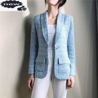 Primavera Womens Blaze Tweed Azul Manta Slim Atordoamento Profissional Casaco Fino High-end Forro de Silk Top Blazers Jaqueta Ternos das Mulheres
