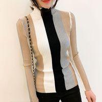 Autumn Casual Striped Colorblock Sweater Women Knitted Pullover Ruffled Neck Bodycon Long Sleeve Korean Slim Female Jumper Z316 Women's Swea