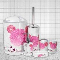 Bath Accessory Set 6Pcs Bathroom Accessories Toothbrush Holder Bin Soap Dish Dispenser Tumbler Toilet Brush Trash Can Washing Cup