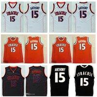 15 Camerlo Anthony Jersey College NCAA HOMBRES SYRACUSE Jerseys de baloncesto anaranjado para fanáticos del deporte Bordado Blanco Blanco