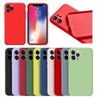 Cas de silicone liquide pour iPhone 11 Pro Max XR XS X 6 7 8 Plus SE 12 Cas de téléphone antichoppes en flanelle intégré complet