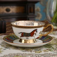 European Vintage Bone China Coffee Cup Colorful Porcelain Horse Ceramic Tea Cup and Saucer Set British Office Teacup Drinkware Gift