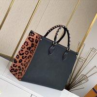 여성 Luxurys 디자이너 가방 패션 블랙 레오파드 Onthego 대용량 어깨 가방 배낭 M45595 크기 : 35-28-15cm