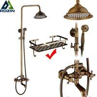 Rozin Bronze Banheiro de Banheiro Torneira Conjunto de Parede Montagem Dual Handle Com Handshower + Prateleira Misturador De Conjuntos de Torneira