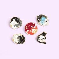 Yinyang 브로치 핀 에나멜 동물 포옹 고양이 드래곤 여우 물고기 브로치 옷깃 핀 탑 백 가방 배지 여성용 패션 쥬얼리