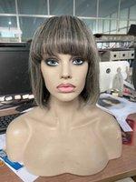 100% Gerçek Saç Gri İnsan Bob Peruk Tuz Ve Biber Doğal Vurgular Gümüş Gri Kısa Tam Kadınlar Giyinen Giyen% 150 Yoğunluk Diva1