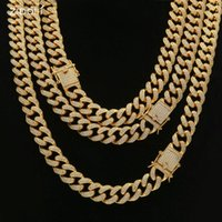 Chains Men Hip Hop Iced Out Bling Chain Necklaces 100% CZ Zircon 13.5mm 18-24inch Long Miami Cuban Link Necklace Hiphop Jewelry