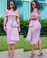 Pencil Female Clothing Mid Calf Fashion Apparel Women Summer Sashes Slash Neck Midi Dresses Backless Sleeveless