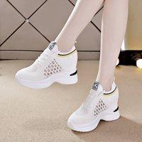 más reciente transpirable, más delgado, aumento de zapatos para mujeres 2021 verano todo-partido blanco tacón alto 8cm zapatos deportivos casuales mujeres