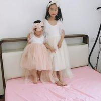 Vintage Baby Girl Vestidos de altura de alto encaje Sling para niños Princess Ruffles Cumpleaños Tutu Childern Mermaid Batch