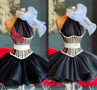 Little Black Dress 2022 Real Image Ruffles Puffly Skirt Evening Cocktail Dresses High Neck Halter Short Prom Homecoming Dress