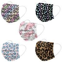 Wholesale Designer Mask Disposable 3 layers Print White Pink Love Blue Black Leopard Men Women Face Masks Non-Woven Anti-Dust Soft Ear Hoop Mouth Cover
