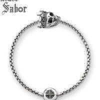 Charm Armbänder Schmuck Schädel König Perlen Anhänger Armband, Silber Schmuck Mode Vintage Geschenk Karma Verschluss Für Männer Frauen Accessoires
