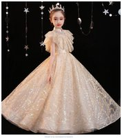 Girl's Dresses Seuqin Tulle Girl Dress For Wedding Princess Party Formal Ball Gown Kids Golden Lace Long Evening Flower Prom