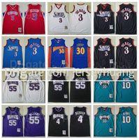Mitchell and Ness Baloncesto Allen Iverson Jersey 3 Jason Williams 55 Chris Webber 4 Michael Mike Bibby 10 Stephen Curry 30 Vintage High