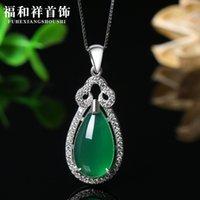 Japanese and Korean Fashion Jade Pulp Pendant 925 Silver Diamond Necklace Women's Clavicle Chain Zircon Headdress Accessories E5EC514