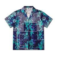 Men's Casual Shirts 2021 High Street Hawaiian Green Paisley Flowers Full Print Beach Cardigan Leisure Short Sleeves Man
